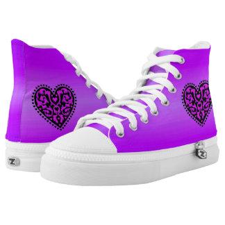 Vibrant Purple Black Heart Pretty scrolls High-Top Sneakers
