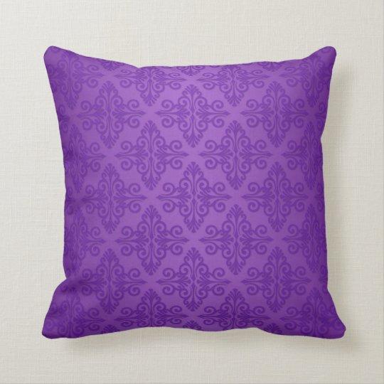 Vibrant Purple Damask Pattern Throw Pillow Zazzle.com