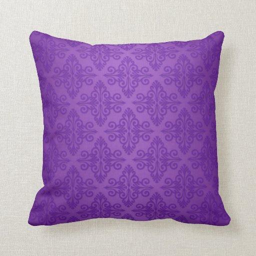 Vibrant Purple Damask Pattern Throw Pillows Zazzle
