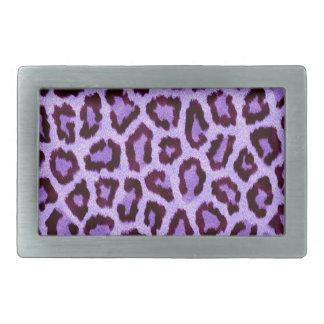 Vibrant Purple Leopard Fur Print Rectangular Belt Buckle