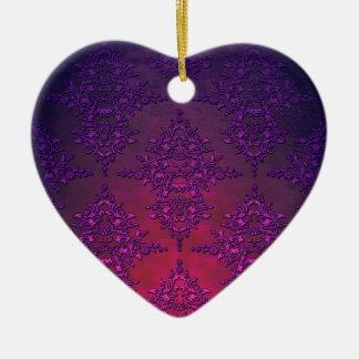 Vibrant Purple Orange Damask Pattern Ceramic Ornament