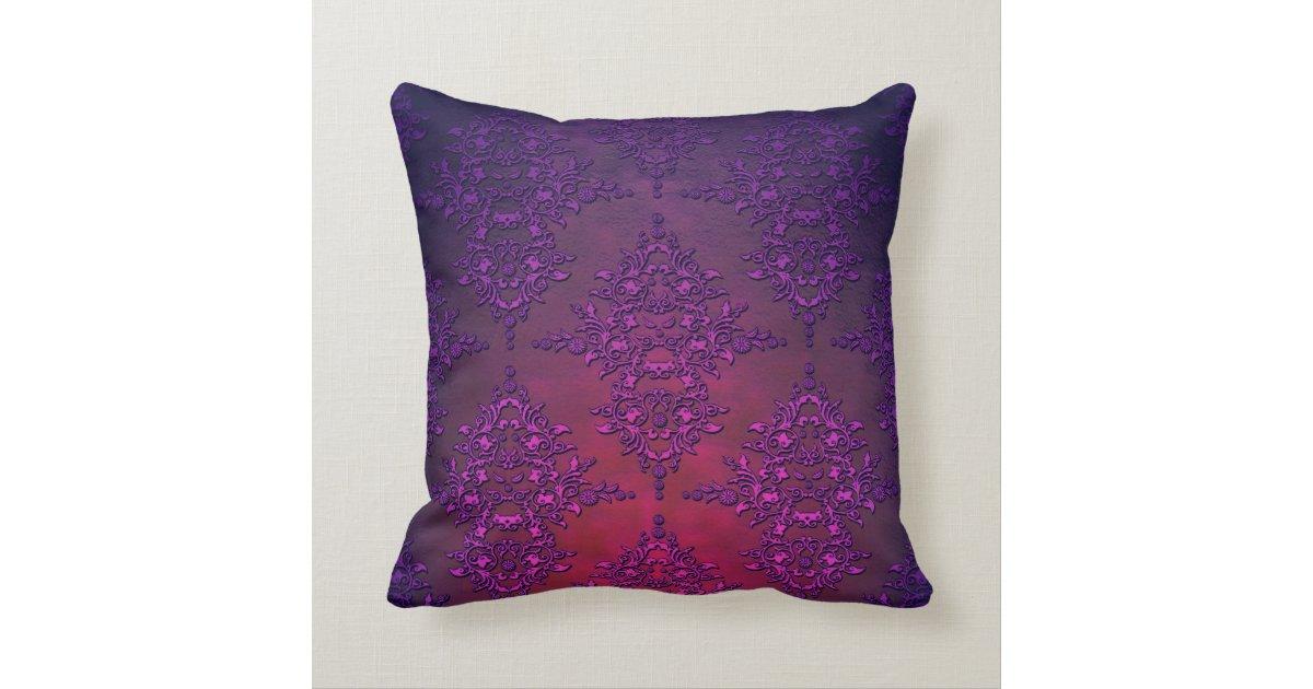 Vibrant Purple Orange Damask Pattern Throw Pillow Zazzle