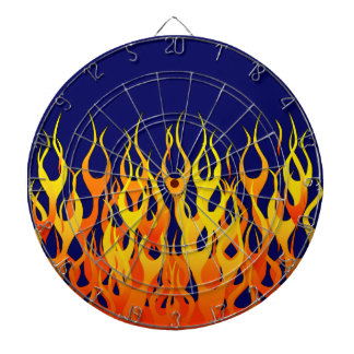 Vibrant Racing Flames on Navy Blue Dart Boards