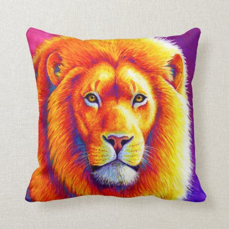Vibrant Rainbow African Lion Throw Pillow
