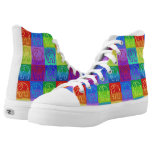 Vibrant Rainbow Checker Pattern Ethnic Elephants High-Top Sneakers