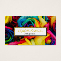 Vibrant Rainbow Color Roses Professional Business Card at Zazzle