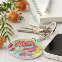 Vibrant Rainbow Colored Floral Roses Keychain