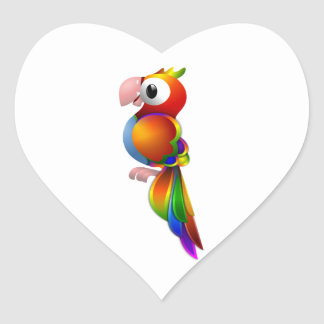 Vibrant Rainbow Colored Parrot Facing to the Side Heart Sticker