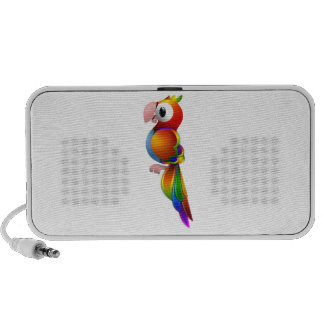 Vibrant Rainbow Colored Parrot Facing to the Side Portable Speakers