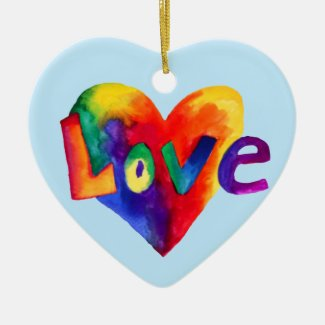 Vibrant Rainbow Hearts With The Word Love Ornament