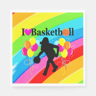 VIBRANT RAINBOW I LOVE BASKETBALL PAPER NAPKINS