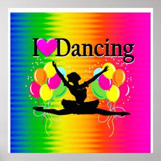 VIBRANT RAINBOW I LOVE DANCING DESIGN POSTER