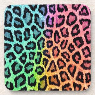 Vibrant Rainbow Leopard Fur Print Coaster