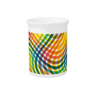 Vibrant Rainbow Twisted Plaid Pattern Beverage Pitcher