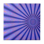 Vibrant Rays of Color Blue Digital Art Tile