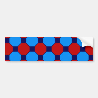 Vibrant Red and Blue Squares Hexagons Tile Pattern Bumper Sticker