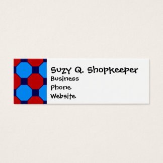 Vibrant Red and Blue Squares Hexagons Tile Pattern Mini Business Card