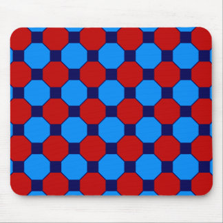 Vibrant Red and Blue Squares Hexagons Tile Pattern Mouse Pad