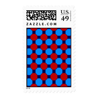 Vibrant Red and Blue Squares Hexagons Tile Pattern Postage Stamp