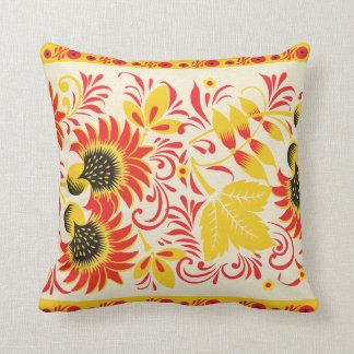 Vibrant Red and Yellow Leaves Pillow