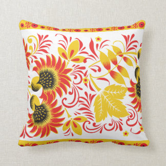Vibrant Red and Yellow Leaves Throw Pillow