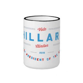 Vibrant Red & Blue Vote Hillary Clinton Ringer Coffee Mug