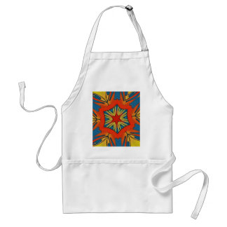 Vibrant Red Blue Yellow Star Pattern Adult Apron