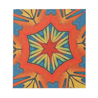 Vibrant Red Blue Yellow Star Pattern Notepad