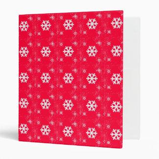 Vibrant RED Cute Christmas SnowFlakes Binder