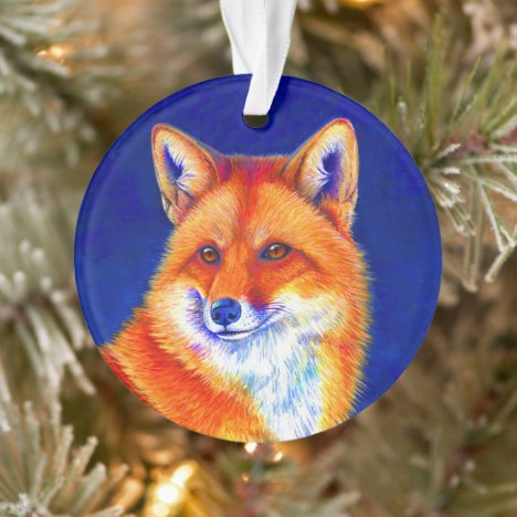 Vibrant Red Fox Acrylic Ornament