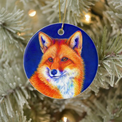 Vibrant Red Fox Ceramic Ornament