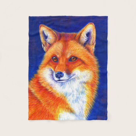 Vibrant Red Fox Fleece Blanket