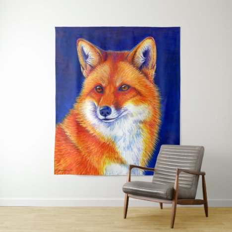 Vibrant Red Fox in Winter Wall Tapestry