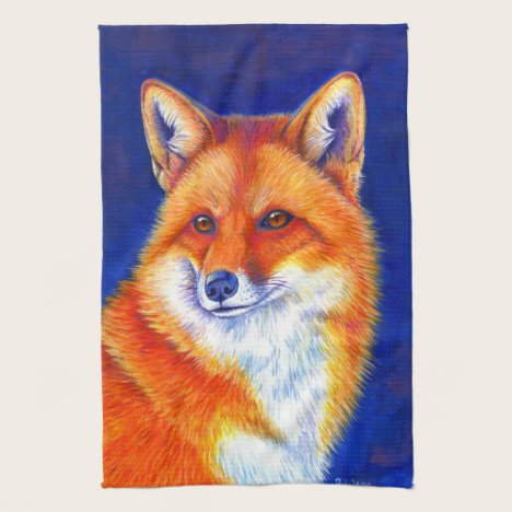 Vibrant Red Fox Kitchen Towels
