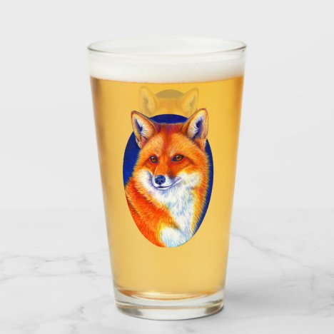 Vibrant Red Fox Pint Glass Cup
