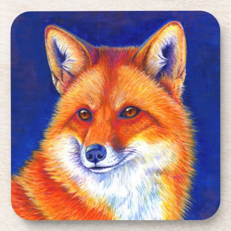 Vibrant Red Fox Plastic Coasters Set