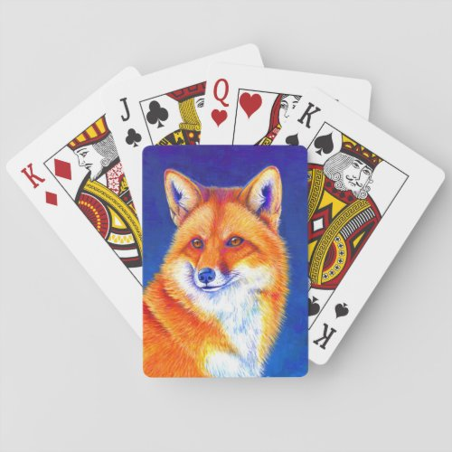Vibrant Red Fox Playing Cards