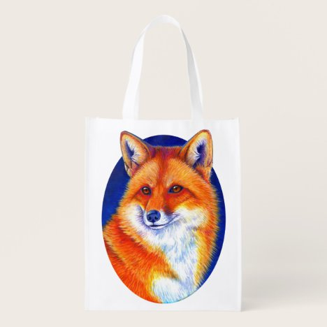 Vibrant Red Fox Reusable Grocery Bag