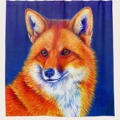 Vibrant Red Fox Shower Curtain