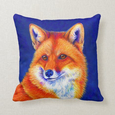 Vibrant Red Fox Throw Pillow