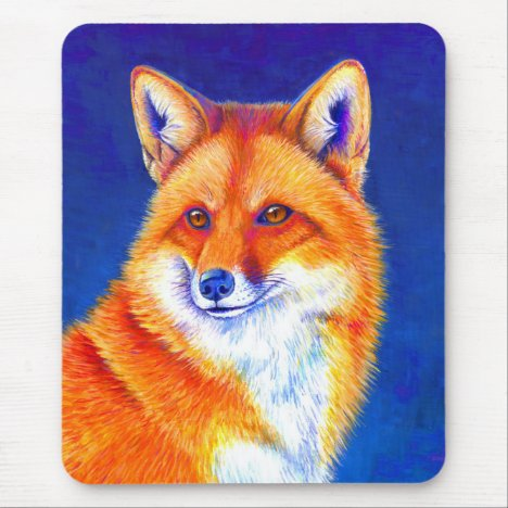 Vibrant Red Fox Vertical Mouse pad