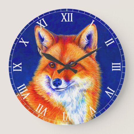 Vibrant Red Fox Wall Clock