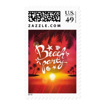 Beach Themed Vibrant Red Gold Sunset Palms Beach Party Invite Postage