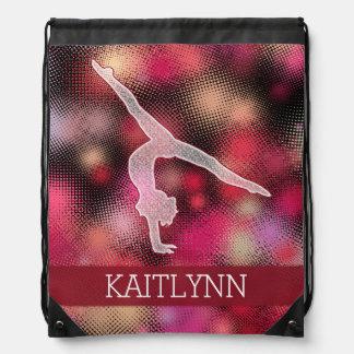 Vibrant Red Halftone Gymnastics w/ Monogram Drawstring Backpack