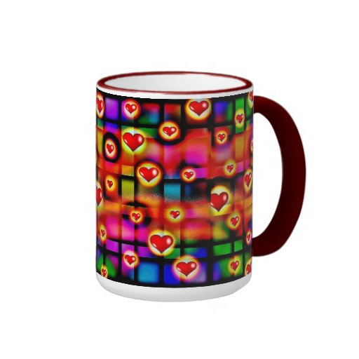 Vibrant Red Hearts Parade on Colorful Plaid Ringer Coffee Mug