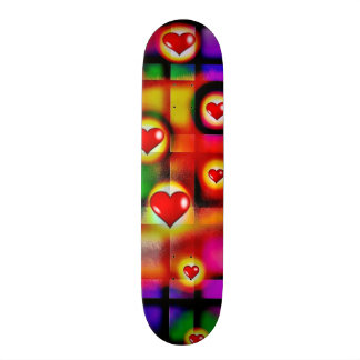 Vibrant Red Hearts Parade on Colorful Plaid Skate Board Deck