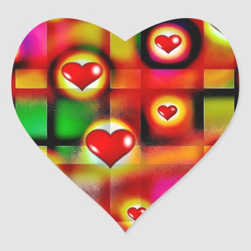 Vibrant Red Hearts Parade on Colorful Plaid Heart Sticker