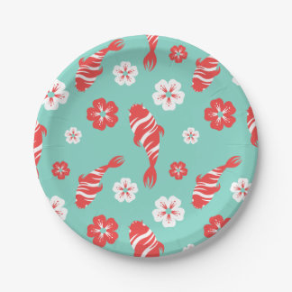 Vibrant red koi fish swimming on mint pattern paper plate