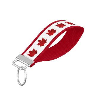 Vibrant Red Maple Leaf/CANADA Wrist Keychain
