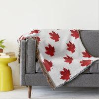 Vibrant Red Maple Leaf Design Throw Blanket
